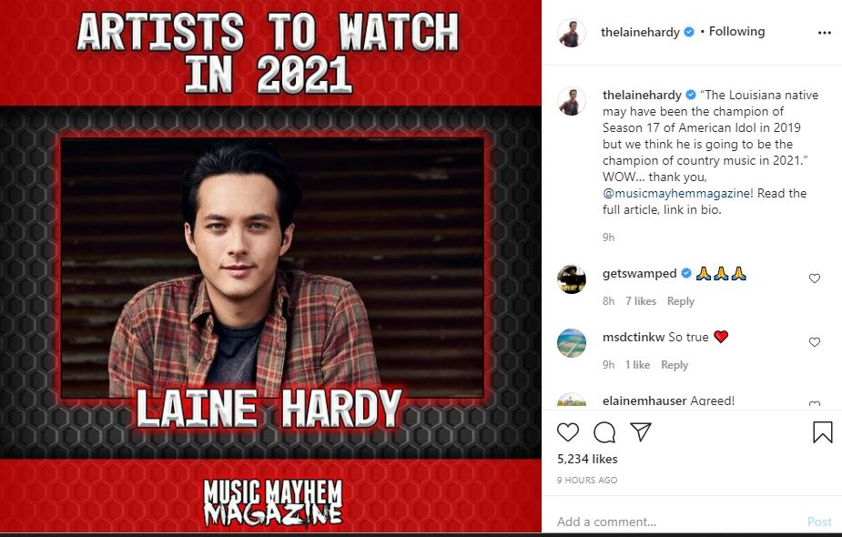 Laine Hardy Champion of Country Music 2021