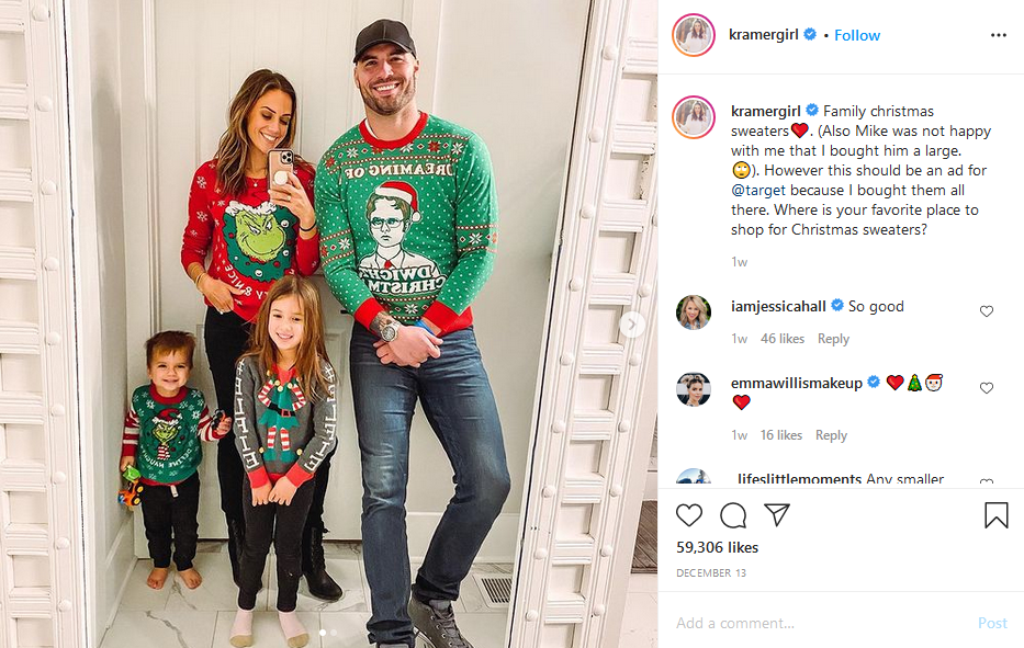 jana kramer and mike caussin instagram post