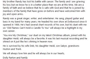 Credit: Dolly Parton Facebook