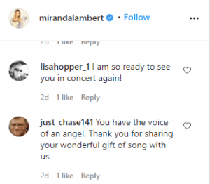 Miranda Lambert, Fan Comments, Instagram
