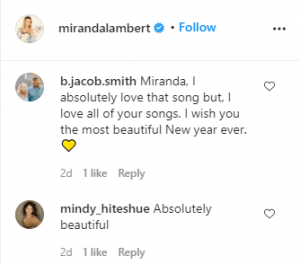 Miranda Lambert, Fan Comments 2 Instagram