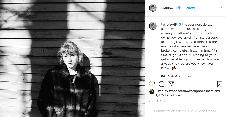 taylor swift instagram post